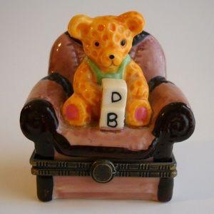 Other - Teddy Bear Easy Chair Pill Trinket Box Case